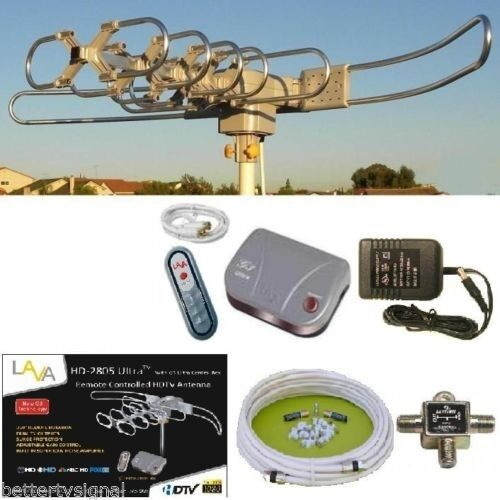 LAVA HD2805 HDTV DIGITAL ROTOR AMPLIFIED OUTDOOR TV ANTENNA HD UHF VHF FM CABLE
