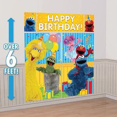(Elmo Sesame Street Birthday Party Supplies Scene Setter Wall Decorations Kit )