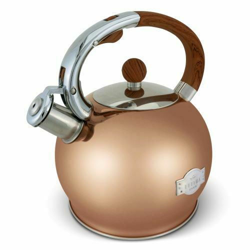 ELITRA Stove Top Whistling Fancy Tea Kettle - Stainless Steel 2.7 Qt - Rose Gold