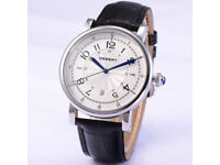Debert 43mm white dial blue hands Leather 21 Jewels miyota Automatic Men's watch
