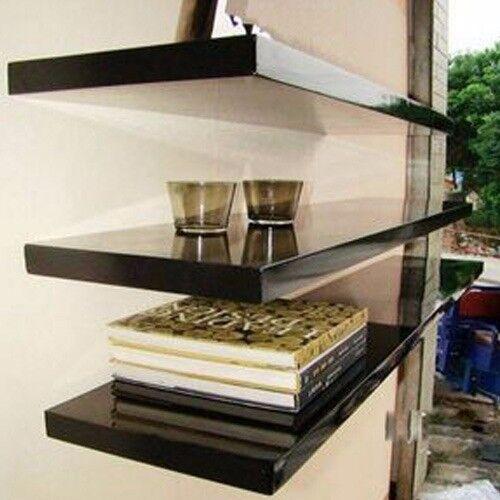 Black High Gloss Floating Wall Mounted Shelf Unit Shelving Display New 30,40,50.60,70,80,90,100cm