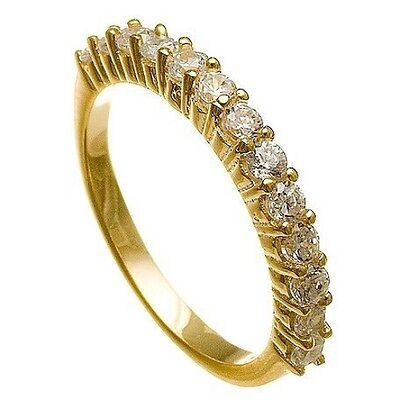 14k Gold Vermeil Wedding Ring (14K  Y GOLD VERMEIL13 STONE CUBIC ZIRCONIA ETERNITY  WEDDING BAND RING -925/SS )