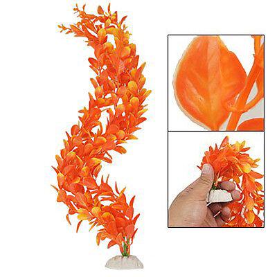 (Orange Bush Leaves Plastic Plant Ornament for Fish Tank YM)