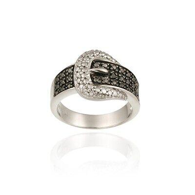 925 Silver Black Diamond Accent Belt Buckle Ring