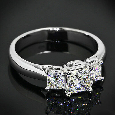1 CT PRINCESS CUT DIAMOND ENGAGEMENT RING VS/D ENHANCED 14k WHITE GOLD