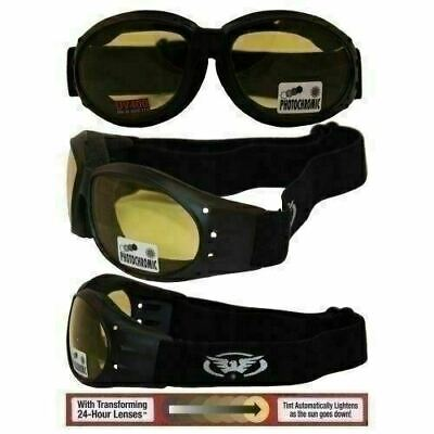 Padded Motorcycle Riding Goggles-TRANSITION PHOTOCHROMIC LENS (Yellow To Smoked) ()