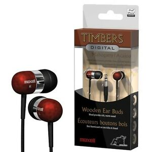 Maxell-Timbers-Real-Mahogany-Wood-inner-Earbuds-Earphones-Earpiece-DS-3DS-NEW