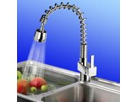 Chrome Brushed Steel Faucet Kitchen Tap Swivel Pull Out Spray Mixer