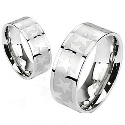 316l Stainless Steel Wedding Ring - 316L Stainless Steel Two Tone Shiny Star Pattern Wedding Band Ring Size 5-14