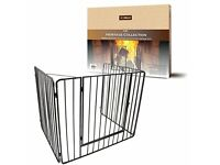 Child or Pet Safety Fire Guard Screen, Metal, Black, 97 x 77 x 76 cm