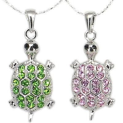 - Turtle Tortoise Pendant Necklace Charm Austrian Crystal Diamante Jewelry 16