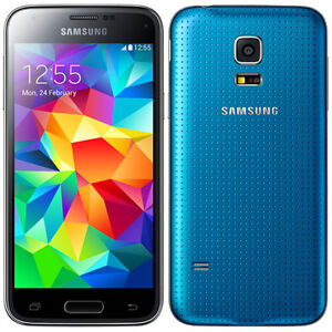Unlocked Samsung S5 Blue with Spingen case & screen protector