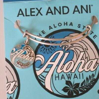 Alex And Ani Aloha II Hawaii Exklusiv Erweiterbar Silber Armreif Armband Nwt
