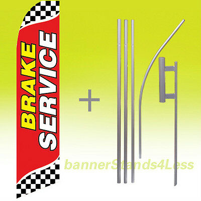 Brake Service Swooper Flag Kit Feather Flutter Banner Sign 15 - Checkered Rb