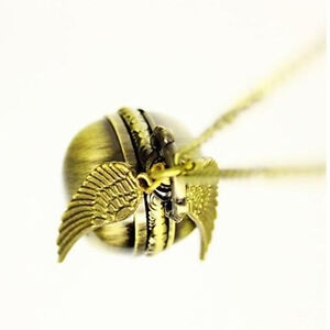 Harry Potter Golden Snitch Watch Necklace Steampunk Quidditch Pocket Clock