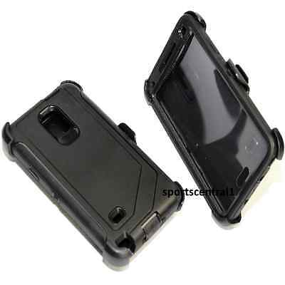 For Samsung Galaxy Note 4 Defender BLACK Case Cover [Belt Clip Fits Otterbox]