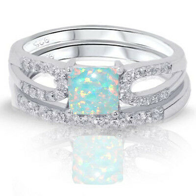 Princess Cut Turquoise Fire Opal Engagement Wedding Sterling Silver Two Ring -