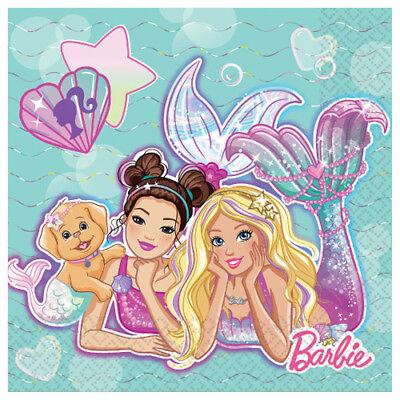 BARBIE Mermaid LUNCH NAPKINS (16) ~ Birthday Party Supplies Serviettes Dinner](Barbie Napkins)