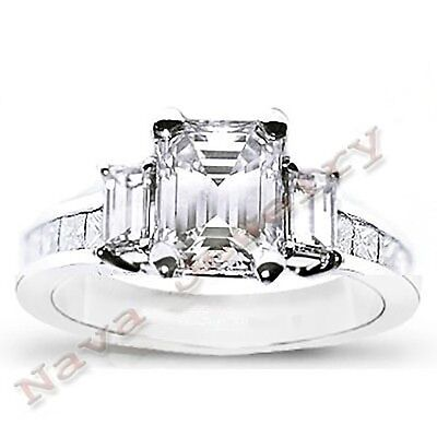 3.27 TCW Emerald Cut 3 Stone Diamond Engagement Ring - GIA Certified 1