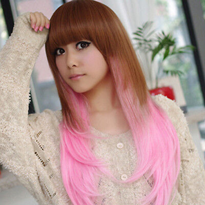 Pink Wig Long Straight Brown Hair Harajuku Cosplay Costume Women - Pink Hair Costume