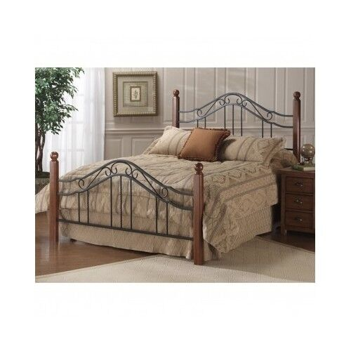 online retailer 955fa 61c0d Details about King Bed Frame Queen Size Headboard Rails Footboard Cherry  Wood Post Black Metal