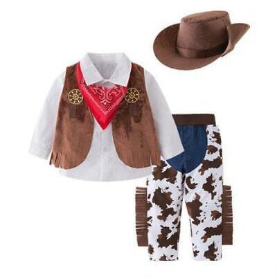 Kids Cowboy Halloween Costume (Bilo Kid Boys Halloween Cowboy Costume 5pcs Set Cosplay Event Dress Up Parties)