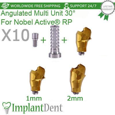 10 Sets Of Angled Multi Unit Abutment 30 Nobel Active Hex Rp Titanium Sleeve