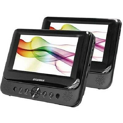 "Sylvania 7"" Premium Dual Screen Portable DVD Player For Home Car Travel SDVD8739"