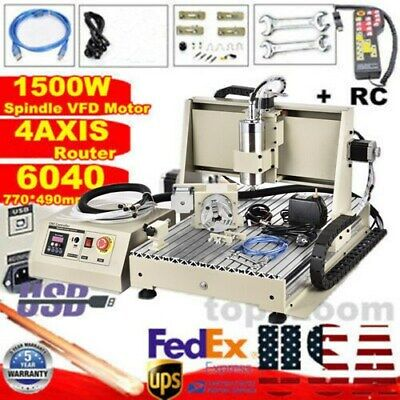 4 Axis 6040 Cnc Router Engraver Aluninum Drilling Milling Engraving Machine Rc