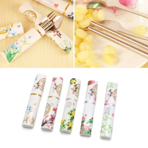 Portable Mini Stainless Steel Fork Chopsticks Boxed Spoon Set Cutlery Picnic Kid