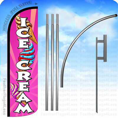 Ice Cream - Windless Swooper Feather Banner Flag 15 Kit Pq