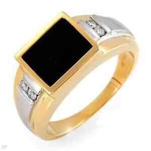 Mens white/yellow gold black onyx ring