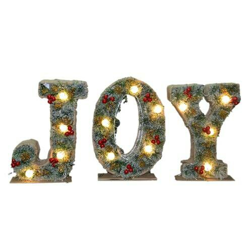 LIGHTED JOY SIGN LED LIGHTS CHRISTMAS DECORATION NEW BATTERY OPERATED