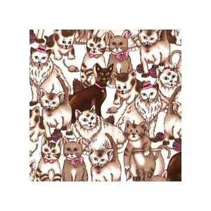 04338 Cat Party Earthtone  - Flannel Fat Quarter