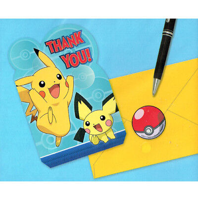 POKEMON Sun and Moon THANK YOU NOTES (8) ~ BIrthday Party Supplies Stationery - Pokemon Thank You