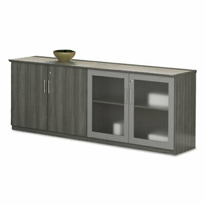 Safco Medina Series Low Wall Cabinet With Doors 72w X 20d X 29 12h Gray Steel