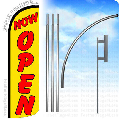 Now Open - Windless Swooper Feather Flag 15 Kit Banner Sign - Yq