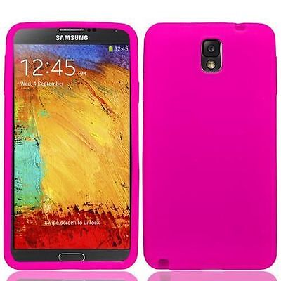 Pink Skin Case - Hot Pink Silicone Skin Case Cover for Samsung Note 3