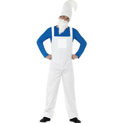 Mens Gnome Costume Elf Troll German Outfit White Hat Suit Beard Adult Size XL