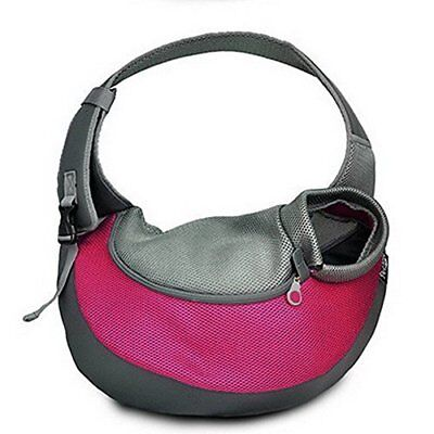 BIG WING Pet Sling Carrier for Dog Cat Pets Travel Shouder Bags, Rose Red Large
