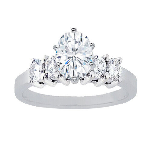 GIA Certified Diamond Engagement Ring 1.28 CT Oval Cut & Round Shape 14k Gold