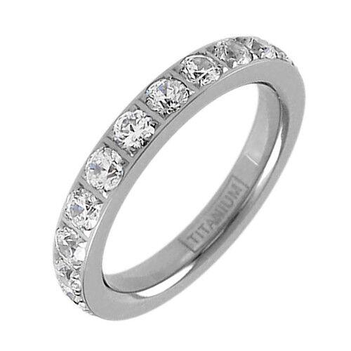 Titanium 1.7 Carat CZ Eternity Wedding Band Ring Size 5-10