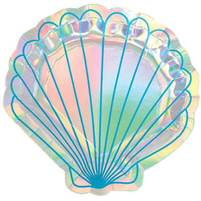 MERMAID IRIDESCENT SMALL SHAPED PAPER PLATES (8) ~ Birthday Party Supplies