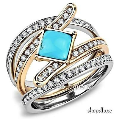 Stunning Turquoise CZ Stainless Steel 3 Piece Wedding Ring Set Women's Size 5-10 ()