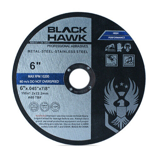 "25 Pack 6""x.045""x7/8"" Cut-off Wheel - Metal & Stainless Steel Cutting Discs"