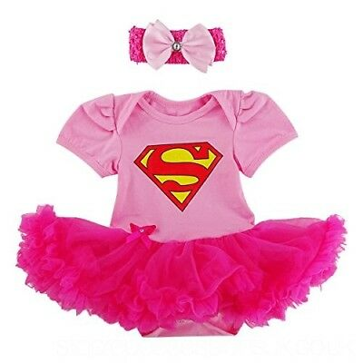 BABY GIRL SUPERMAN SUPERGIRL PINK ROMPER TUTU COSTUME free headband SIZE 000-2 - Pink Superman Costume