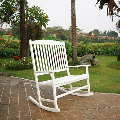 Outdoor Wood 2-Person Double Rocking Chair Patio Porch Deck Classic White -