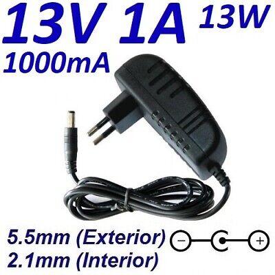 Cargador Corriente 13V 1A 1000mA 5.5mm 2.1mm 13W Cable Alimentacion Power Supply