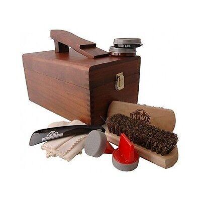 Shoe Shining Kit Wood Box Polish Shine 10 Pc Cleaning Leather Boots Shoes Brush