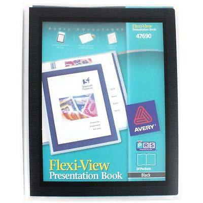 New Avery Flexi-view Presentation Book Black 24 Pages - 47690 - Free Shipping